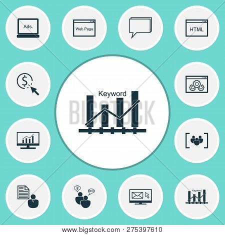 Advertising Icons Set With Web Page, Comprehensive Analytics, Display Advertising And Other Digital