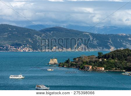 The Scola Tower (torre Scola) Xvii Century And The Palmaria Island In The Gulf Of La Spezia Or Gulf