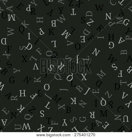 Seamless Pattern With Alphabet, , Isolated On Black Background. Vector Illustration, Easy To Edit.