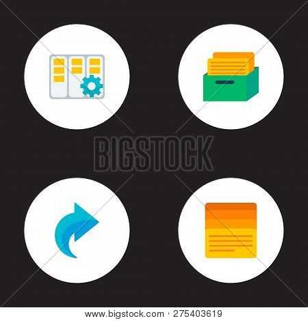 Set Of Management Icons Flat Style Symbols With Task Box, Task Manager, Task List And Other Icons Fo