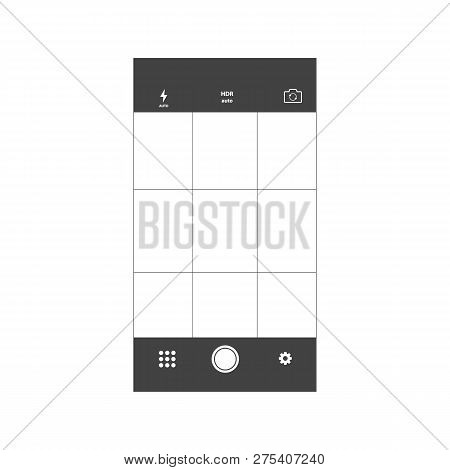 Mobile Camera Interface Template Background. Screen Of Smartphone With Camera Interface. Mobile Came