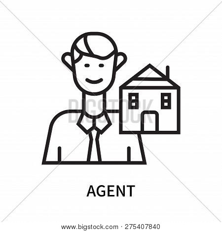 Agent Icon Isolated On White Background. Agent Icon Simple Sign. Agent Icon Trendy And Modern Symbol