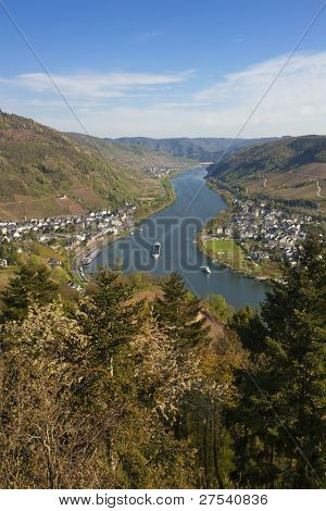 The Mosel Valley with villages Alf and Bulley seen from Prinzenkopf hill