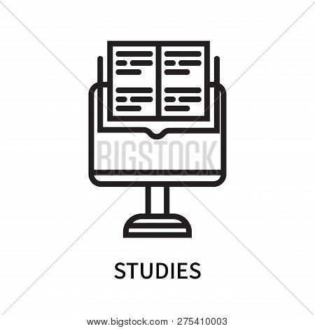 Studies Icon Isolated On White Background. Studies Icon Simple Sign. Studies Icon Trendy And Modern
