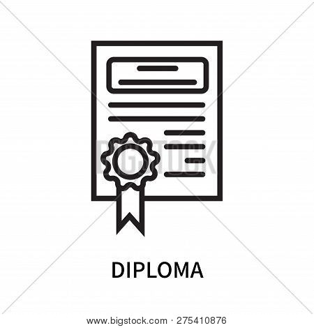 Diploma Icon Isolated On White Background. Diploma Icon Simple Sign. Diploma Icon Trendy And Modern