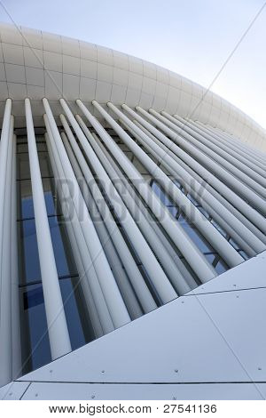 wide-angle view of front of the Luxembourg philharmonic hall
