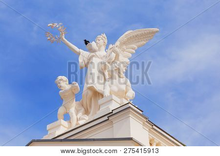 Zurich, Switzerland - May 25, 2016: One Of The Sculptures On The Top Of The Zurich Opera House Build