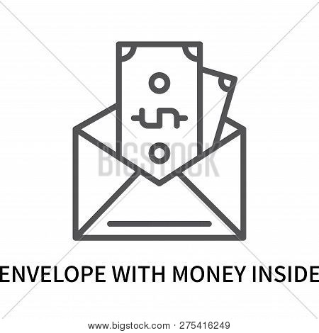 Envelope With Money Inside Icon Isolated On White Background. Envelope With Money Inside Icon Simple