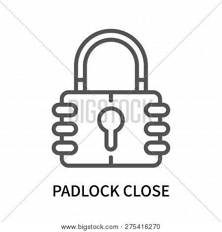 Padlock Close Icon Isolated On White Background. Padlock Close Icon Simple Sign. Padlock Close Icon