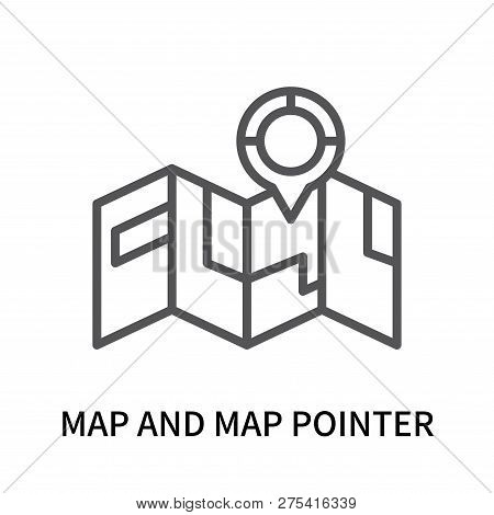 Map And Map Pointer Icon Isolated On White Background. Map And Map Pointer Icon Simple Sign. Map And