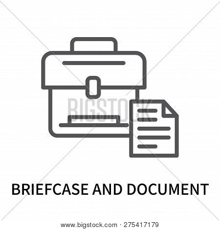 Briefcase And Document Icon Isolated On White Background. Briefcase And Document Icon Simple Sign. B