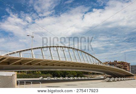 Alameda Exposicion Bridge On Turia  In Valencia, Spain