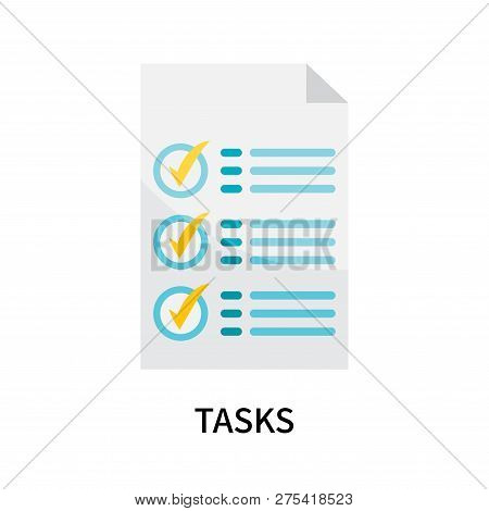 Tasks Icon Isolated On White Background. Tasks Icon Simple Sign. Tasks Icon Trendy And Modern Symbol