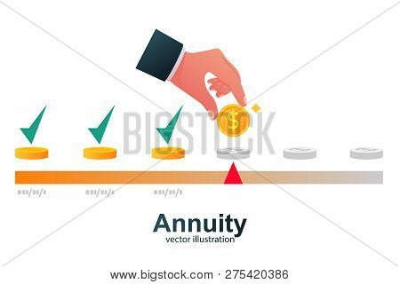 Annuity Concept. Person Makes The Payment. Monthly Payment. Invest On Retire. Vector Illustration Fl