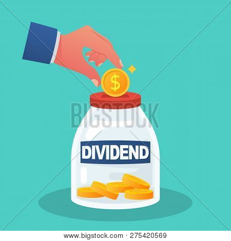 Dividend Concept. Improve Profit. Man Puts A Gold Coin In The Box. Dollar Coins In The Bank. Vector