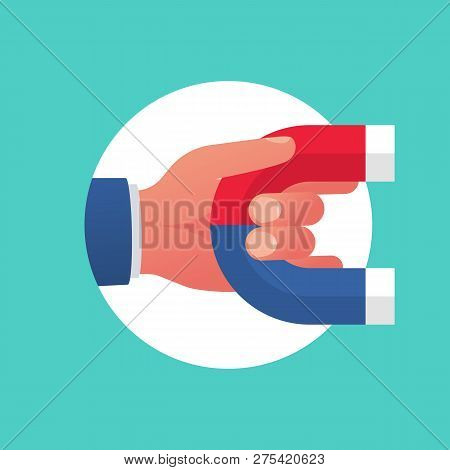 Magnet In Hand Color Icon. Symbol Attraction Customers And Investment. Vector Illustration Flat Desi