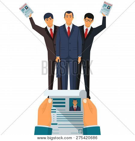 Recruiter Reviews A Resume. Group Of Businessman Looking For Work. Resume In Hands. Vector Illustrat