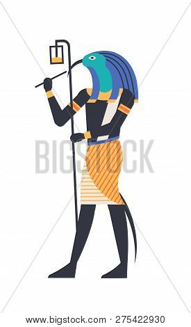 Thoth - God Of Moon, Wisdom And Magic, Deity Or Mythological Creature With Bird Or Ibis Head Holding