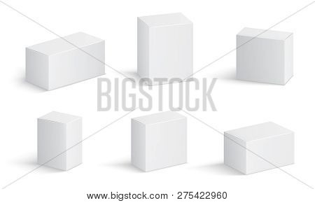 White Cardboard Boxes. Blank Medicine Package In Different Sizes. Medical Product Square Box 3d Vect