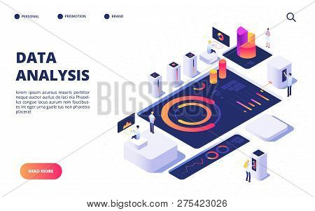 Data Analysis Concept. Business Team Build Digital Infographic With Dashboard, Charts And Diagrams.
