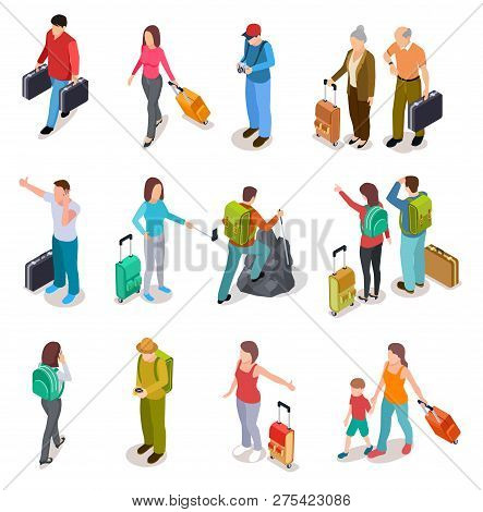 Travel People Isometric Set. Men, Women And Kids With Luggage. Tourist Family, Passengers And Baggag