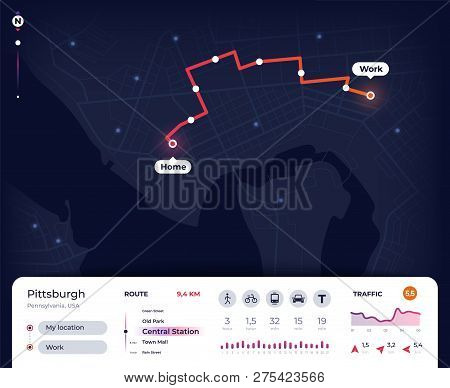 Navigation Map. Gps City Navigator Ui With Mapping Route, Tracking Street Plan. Roadmap App Vector D
