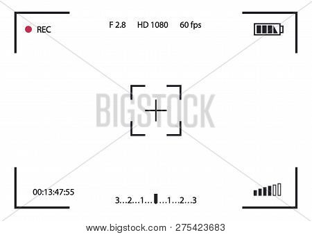 Record Frame Camera Isolated On White Background. Viewfinder Template. Screen Photography Frame For