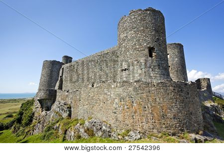 Medieval castle at Harlech, North Wales poster