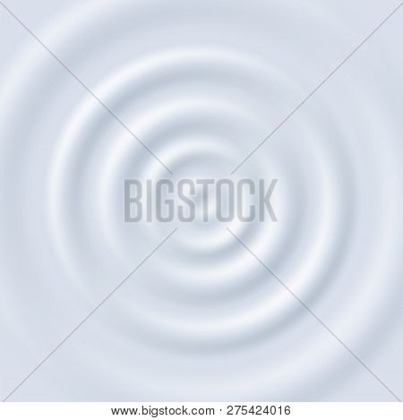 Milk Ripple. Circle Waves Yogurt Cream. Close Up Top View White Milk Circular Ripples Vector Texture