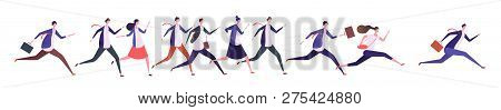 Running Business People. Businessman Businesswoman, Jogging Persons Run To Goal. Competition, Leader