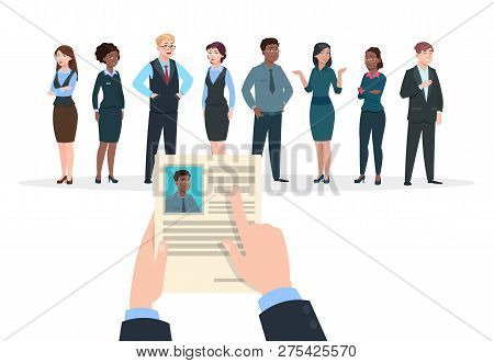Recruitment Concept. Business People Candidates Interview. Businessman Holds Cv Resume. Employment A