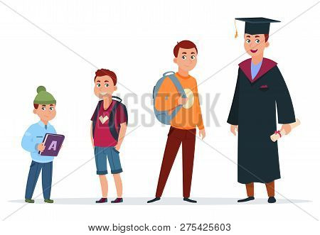 Different Ages Of Student. Primary Schoolboy, Secondary School Pupil And Graduated Student. Growing