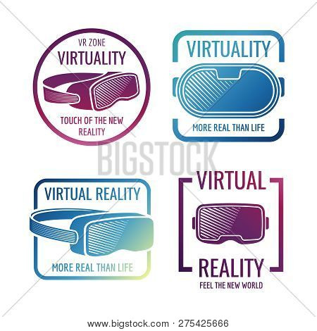Color Futuristic Helmet Virtual Reality Headset Logos. Vr Glasses Head-mounted Display Vector Labels