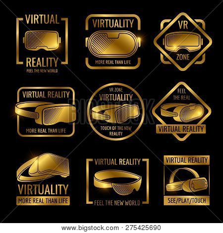 Golden Virtual Reality Glasses And Helmets Label Design. Vector Vr Logo Zone, Device For Virtual Cyb