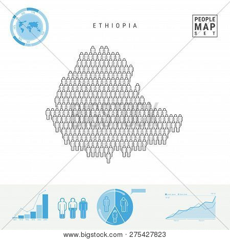 Ethiopia People Icon Map. People Crowd In The Shape Of A Map Of Ethiopia. Stylized Silhouette Of Eth