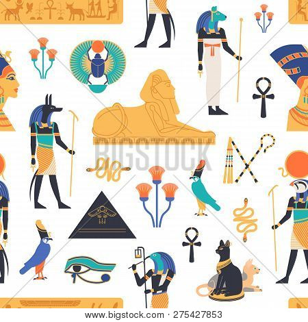 Seamless Pattern With Gods, Deities And Mythological Creatures From Ancient Egyptian Mythology And R