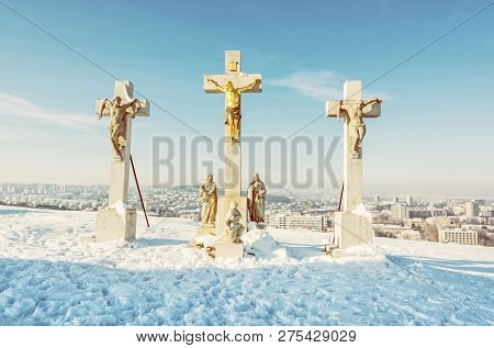 Calvary In Nitra City, Slovak Republic. Religious Place. Winter Scene. Cultural Heritage. Travel Des