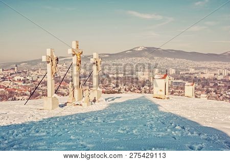 Calvary In Nitra City With Zobor Hill, Slovak Republic. Religious Place. Winter Scene. Cultural Heri