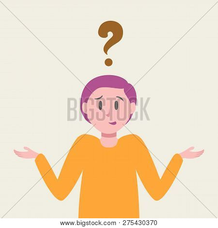 Cute Woman Thinks About Problem Concept Cartoon Style. Thinking Businesswoman Have A Question. Confu