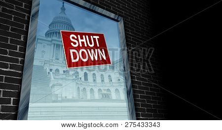 Government Shutdown And Usa Closed And American Federal Shut Down Due To Spending Bill Disagreement