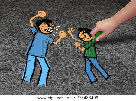 Concept Of Bullying And A School Bully Threat As A Childhood Fear Psychology As An Afraid Child Draw