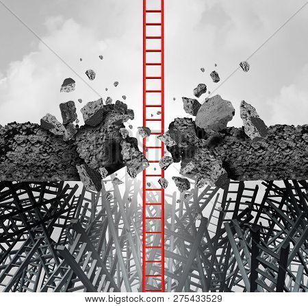 Business Success Breakthrough Metaphor Symbol Of A Career Ladder Breaking Through An Obstacle To Ach