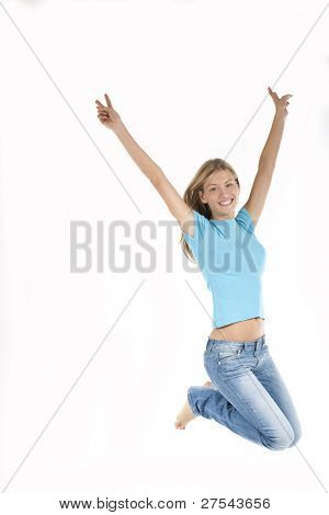 Beautiful young woman jumping with arms raised up, isolated on white