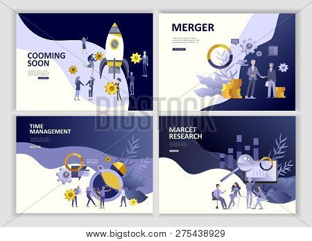 Set Landing page template people business app merger, focus group marcet research and development, cooming soon, time menegement solution. Vector illustration concept website mobile development poster