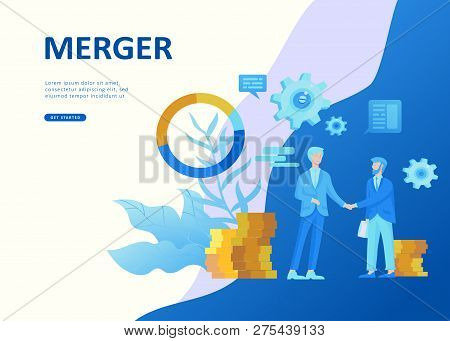 Set Landing page template people business scheduling app, strategic planning merger, investment strategies, career growth, research and development. Vector illustration concept website mobile poster