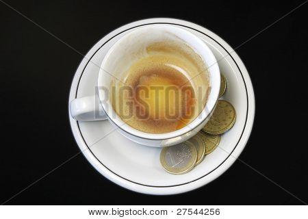 Empty Espresso Cup With Euros
