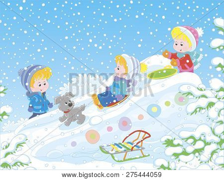 Children Playing On An Ice Slide On A Snow-covered Playground In A Winter Park, Vector Illustration