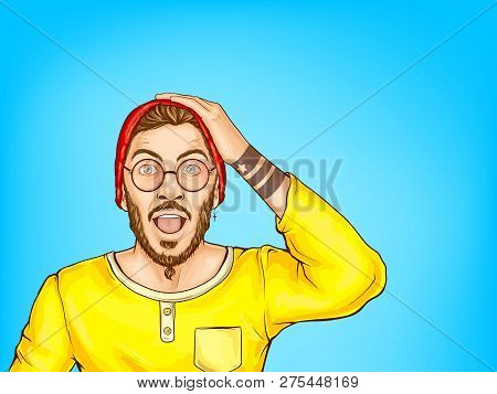 Perplexed, Shocked Or Surprised Hipster Man In Glasses Holding Hand On Head, Opens His Mouth Being A