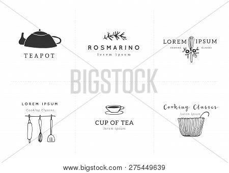 Kitchen And Food Set Of Vector Hand Drawn Logo Templates. Isolated Symbols For Business Branding And