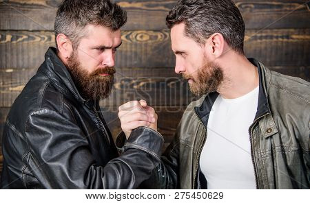 Mafia Dealer. Real Friendship Of Mature Friends. Male Friendship Concept. Brutal Bearded Men Wear Le
